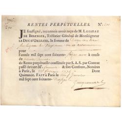 Seine - Paris - Duc d'Orléans - Rente perpétuelle de 200 livres - 1776 - Etat : TTB+