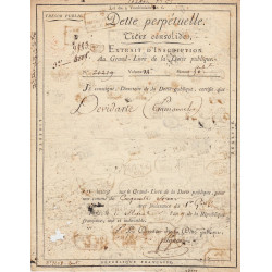 Seine - Paris - Consulat - 1801 - Dette perpétuelle - 50 francs - Etat : TB