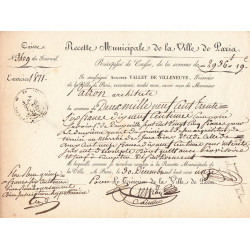 Seine - Paris - 1er empire - 1811 - Recette municipale - 2936 francs - Etat : SUP