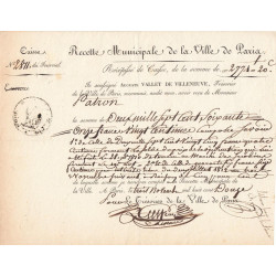 Seine - Paris - 1er empire - 1812 - Recette municipale - 2771 francs - Etat : SUP