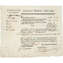 Seine-Maritime - Rouen - Révolution - Contribution mobilière 1791 - 1778 livres - Etat : SUP