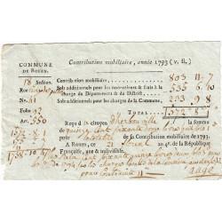 Seine-Maritime - Rouen - Révolution - Contribution mobilière 1793 - 572 livres - Etat : TTB+