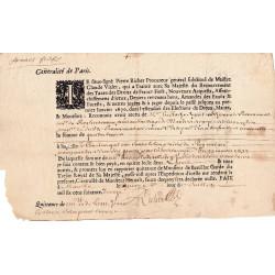 Yvelines - Mantes - Louis XIV - Taxes domaniales 1673 - Etat : TTB