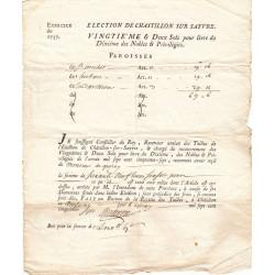 Deux-Sèvres - Mauléon - Louis XV - Dixième des Nobles 1757 - 69 livres - Etat : TTB