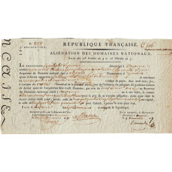 Yonne - Auxerre - Révolution - 1798 - Aliénation des Domaines nationaux - Etat : TB+