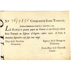 Law-Doreau 24 - 50 livres tournois - 2 septembre 1720 - Etat : SUP