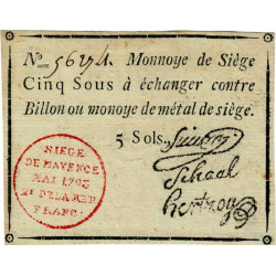 Siège de Mayence - Lafaurie 243 - 5 sols - Mai 1793 - Etat : TTB+