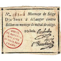 Siège de Mayence - Lafaurie 244 - 10 sols - Mai 1793 - Etat : TB+