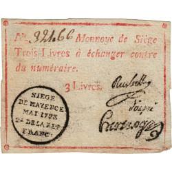 Siège de Mayence - Lafaurie 245 - 3 livres - Mai 1793 - Etat : TTB+