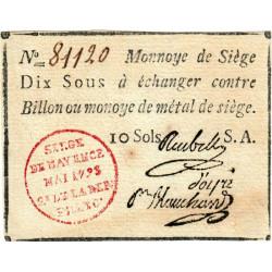 Siège de Mayence - Lafaurie 247 - 10 sols - Mai 1793 - Etat : SUP