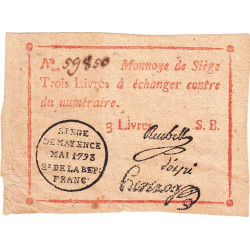 Siège de Mayence - Lafaurie 251 - 3 livres - Mai 1793 - Etat : TTB+