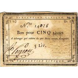 Siège de Lyon - Laf 253 - 5 livres - Série de miliers 14 - Août 1793 - Etat : TB+