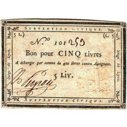 Siège de Lyon - Laf 253 - 5 livres - Série de miliers 101 - Août 1793 - Etat : TTB
