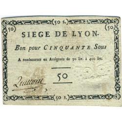 Siège de Lyon - Laf 254 - 50 sous - Septembre 1793 - Etat : TTB+