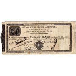 Rouen - Caisse d'échange - Pick S 245b - 20 francs - 1803 - Etat : B