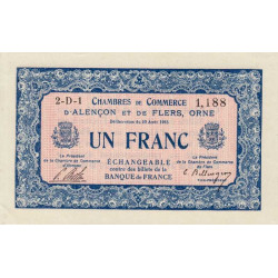 Alençon / Flers (Orne) - Pirot 6-17 - 1 franc - Série 2D1 - 10/08/1915 - Etat : SPL