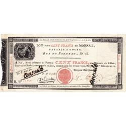 Rouen - Caisse d'échange - Pick S 246b - 100 francs - 1803 - Etat : TTB