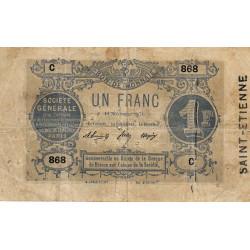 Saint-Etienne - Société Générale - Jer 42 non rép - 1 franc - 18/11/1871 - Etat : TB