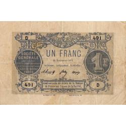 Paris - Société Générale - 1 franc - 18 novembre 1871 - Etat : TB