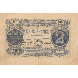 Paris - Société Générale - 2 francs - 18 novembre 1871 - Etat : TTB