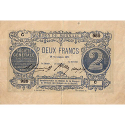 Paris - Société Générale - Jer 75.02B - 2 francs - 18/11/1871 - Etat : TTB
