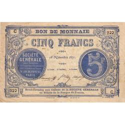 Paris - Société Générale - 5 francs - 18 novembre 1871 - Etat : TB