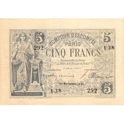 Paris - Comptoir d'Escompte - Jer 75.03A - 5 francs - 16/11/1871 - Etat : TTB+