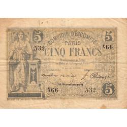 Paris - Comptoir d'Escompte - Jer 75.03A - 5 francs - 16/11/1871 - Etat : TB