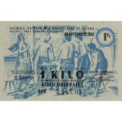 1 kg acier ordinaire - 30-09-1947 - Non endossé - Etat : SUP