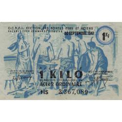 1 kg acier ordinaire - 30-09-1947 - Endossé - Etat : TTB