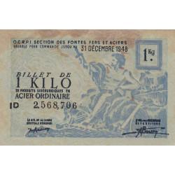 1 kg acier ordinaire - 31-12-1948 - Non endossé - Etat : TB+