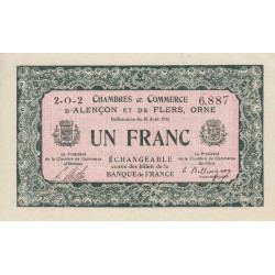 Alençon / Flers (Orne) - Pirot 6-22 - 1 franc - Série 2O2 - 10/08/1915 - Etat : SPL
