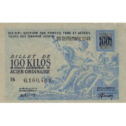 100 kg acier ordinaire - 30-09-1948 - Endossé SNCF - Etat : SUP
