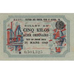 5 kg acier ordinaire - 31-03-1949 - Non endossé - Etat : SUP