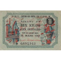 10 kg acier ordinaire - 31-03-1949 - Endossé - Etat : SUP