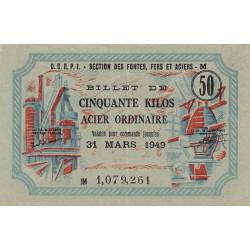 50 kg acier ordinaire - 31-03-1949 - Endossé à Reims (51) - Etat : SUP+