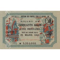 50 kg acier ordinaire - 31-03-1949 - Perforations SNCF - Etat : SUP+