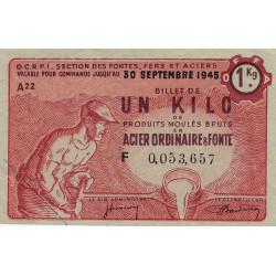 1 kg produits moulés acier ordinaire et fonte - 30-09-1945 - Endossé Nord (59) Pas-de-Calais (62) - Etat : TTB+