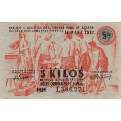 5 kg produits moulés acier ordinaire - 31-03-1947 - Non endossé - Etat : SUP