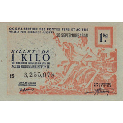 1 kg produits moulés acier ordinaire et fonte - 30-09-1948 - Endossé à Saint-Germainmont (08) - Série IS - Etat : SPL