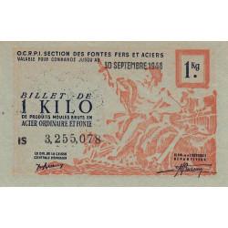 1 kg produits moulés acier ordinaire et fonte - 30-09-1948 - Endossé - Etat : SPL