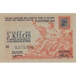 5 kg produits moulés acier ordinaire et fonte - 30-09-1948 - Non endossé - Etat : NEUF