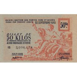 50 kg produits moulés acier ordinaire et fonte - 30-09-1948 - Non endossé - Etat : SUP