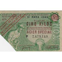 5 kg produits moulés acier spécial - INOX - 31-03-1946 - Endossé à Nouzonville (08) - Etat : SUP