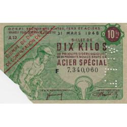 10 kg produits moulés acier spécial - ALLI - 31-03-1946 - non endossé - Etat : TTB+