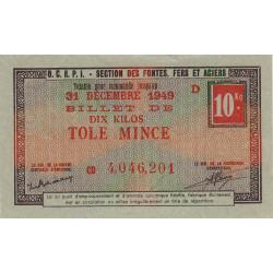 10 kg tôles minces - 31-12-1949 - Endossé - Etat : SUP