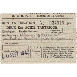 2 kg acide tartrique - 30-09-1943 - Lot-et-Garonne - Etat : SUP
