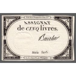 Assignat 46a - 5 livres - Signature 16 - 10 brumaire an 2 - Etat : SUP