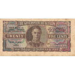 Ceylan - Pick 44b - 25 cents - 1946 - Etat : TB+