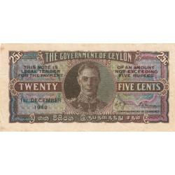 Ceylan - Pick 44b - 25 cents - 01/12/1949 - Etat : TTB